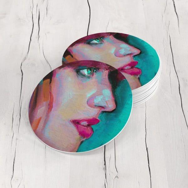 Porta Vasos Redondo Cara Mujer Art 62
