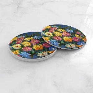 Porta Vasos Redondo Pintura Flores 86