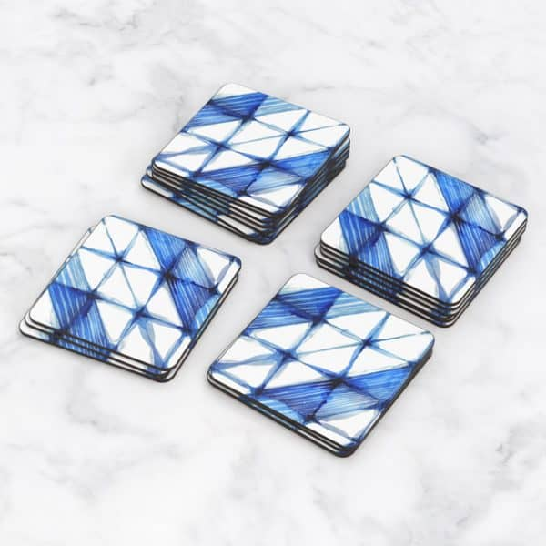 Porta Vasos Cuadrado Patrón Azul 20