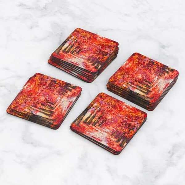 Porta Vasos Cuadrado Pintura Bosque Otoño Rojo 01