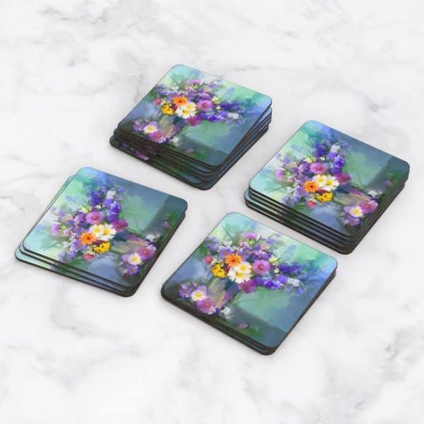 Porta Vasos Cuadrado Pintura Flores 63