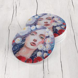 Porta Vasos Redondo Pintura Mujer 06