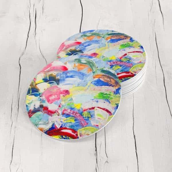 Porta Vasos Redondo Pintura Abstracta 70