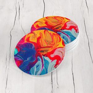 Porta Vasos Redondo Pintura Abstracta 44