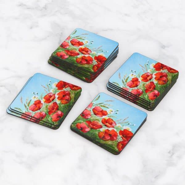 Porta Vasos Cuadrado Pintura Flores 41