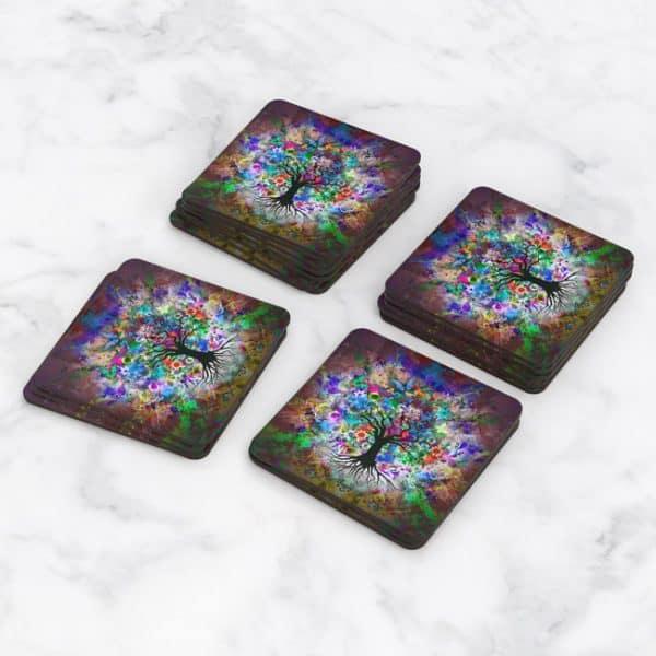 Porta Vasos Cuadrado Arbol Colores 02