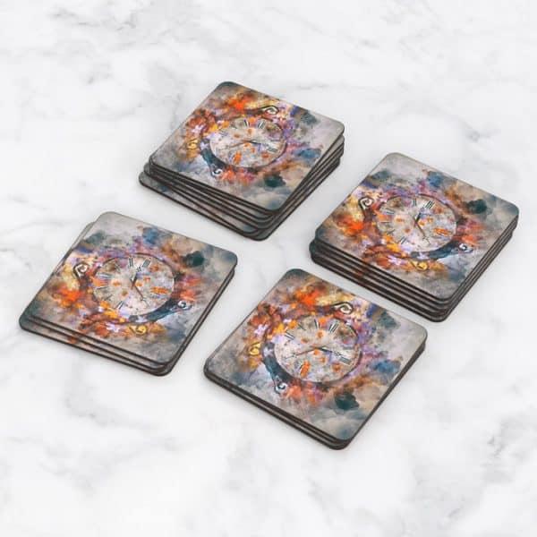 Porta Vasos Cuadrado Pintura Reloj 01