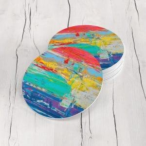 Porta Vasos Redondo Pintura Abstracta 65