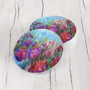 Porta Vasos Redondo Pintura Flores 60