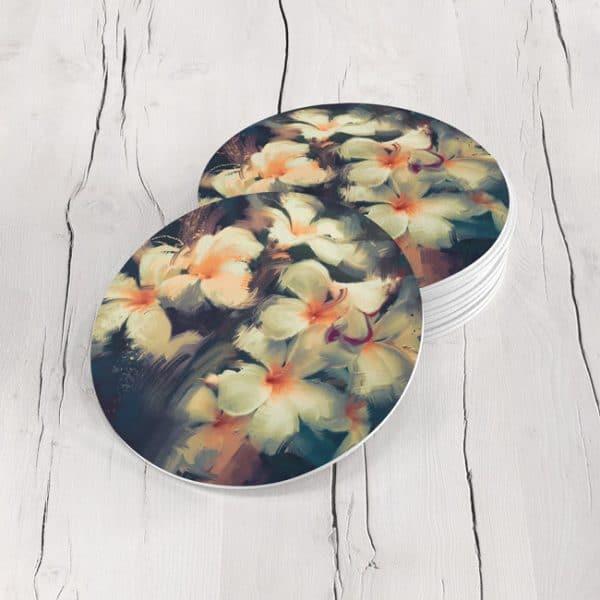 Porta Vasos Redondo Pintura Flores 42