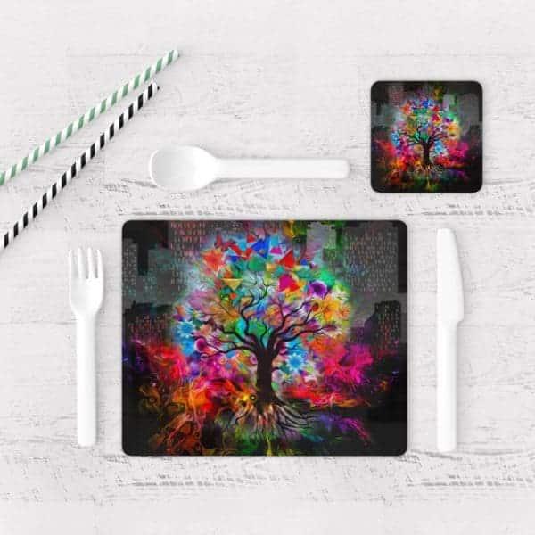 Individuales De Mesa Modernos para Comedor Árbol Colores 01