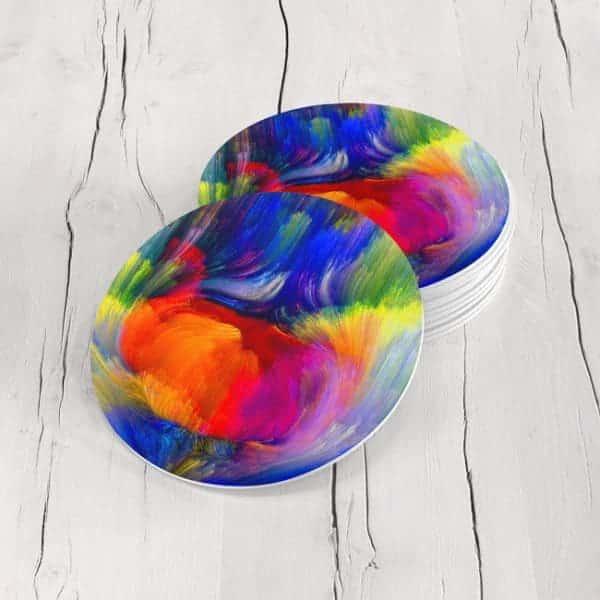 Porta Vasos Redondo Abstracto Colores 11