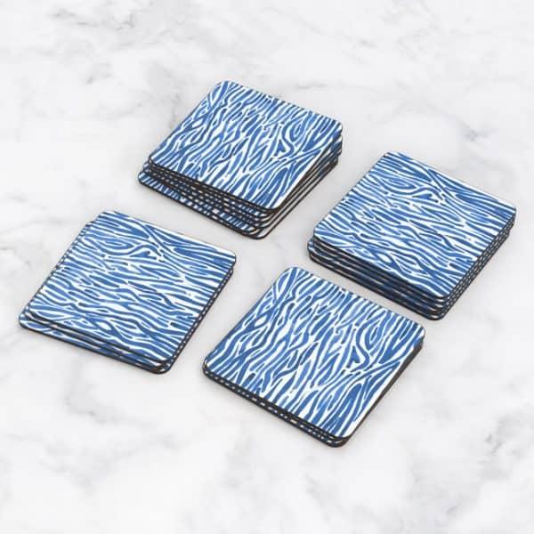 Porta Vasos Cuadrado Patrón Azul 12