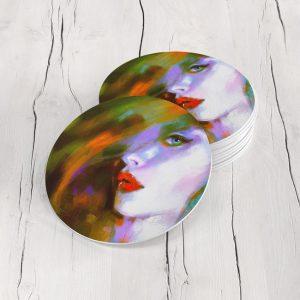 Porta Vasos Redondo Cara Mujer Art 64