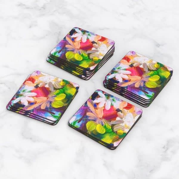 Porta Vasos Cuadrado Pintura Flores 48