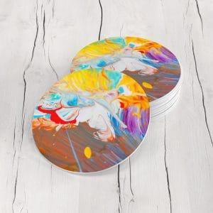 Porta Vasos Redondo Pintura Abstracta 91