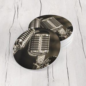 Porta Vasos Redondo Micrófonos Vintage 01