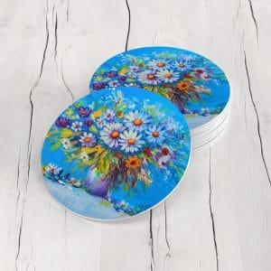 Porta Vasos Redondo Pintura Flores 98