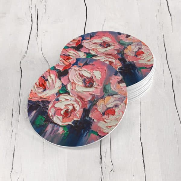 Porta Vasos Redondo Pintura Flores 54 1