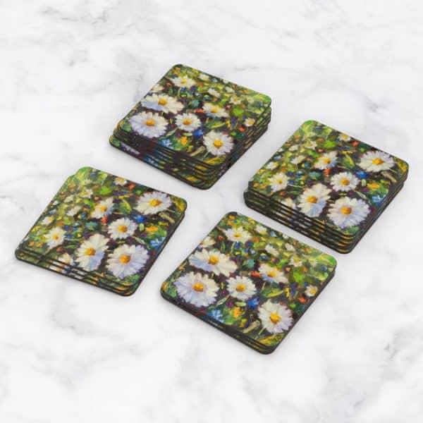 Porta Vasos Cuadrado Pintura Flores 77