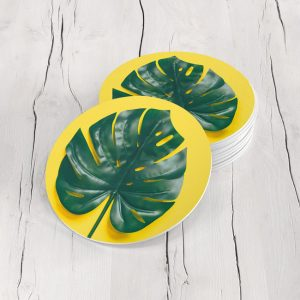 Porta Vasos Redondo Hoja Tropical 16