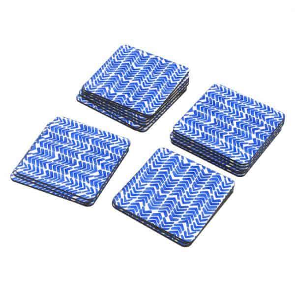 Porta Vasos Cuadrado Patrón Azul 11