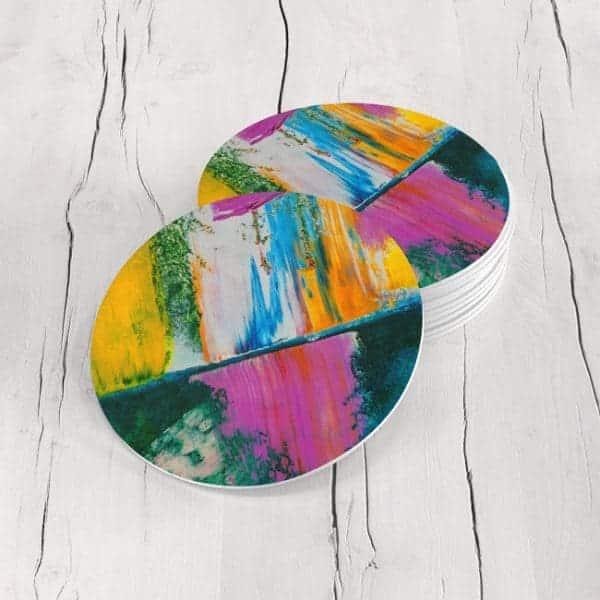 Porta Vasos Redondo Pintura Abstracta 125