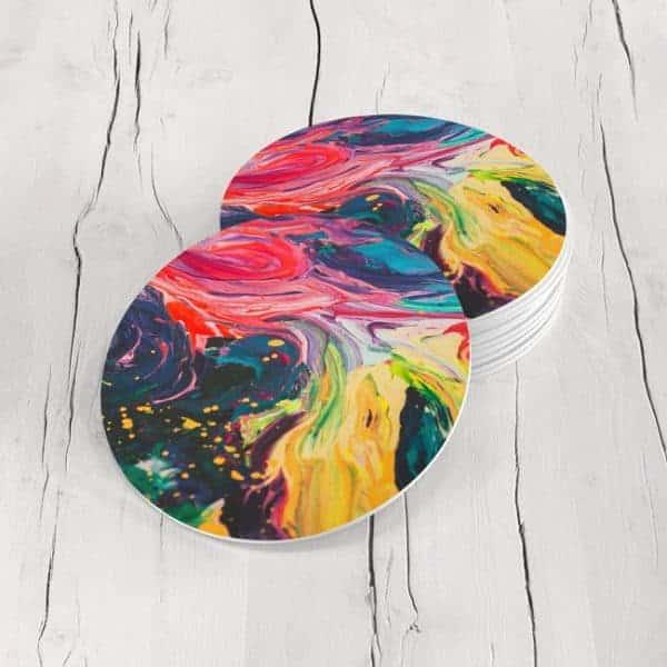 Porta Vasos Redondo Pintura Abstracta 41