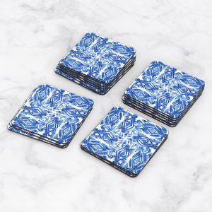 Porta Vasos Cuadrado Patrón Azul 15