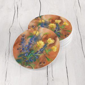 Porta Vasos Redondo Pintura Flores 129