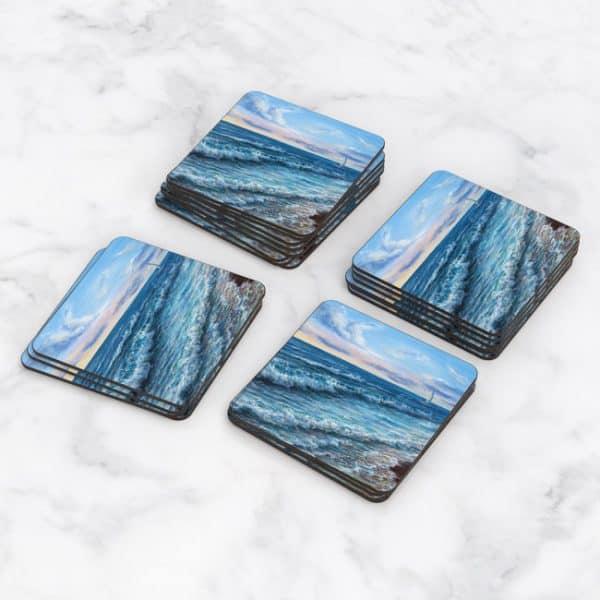 Porta Vasos Cuadrado Pintura Mar Y Olas 02