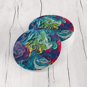 Porta Vasos Redondo Pintura Abstracta 42