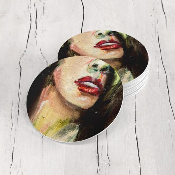 Porta Vasos Redondo Cara Mujer Art 57