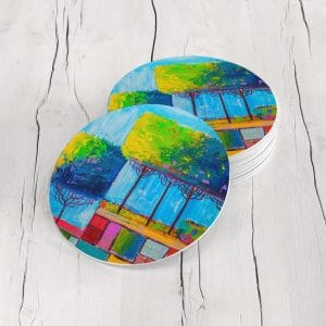 Porta Vasos Redondo Pintura Arboles 17