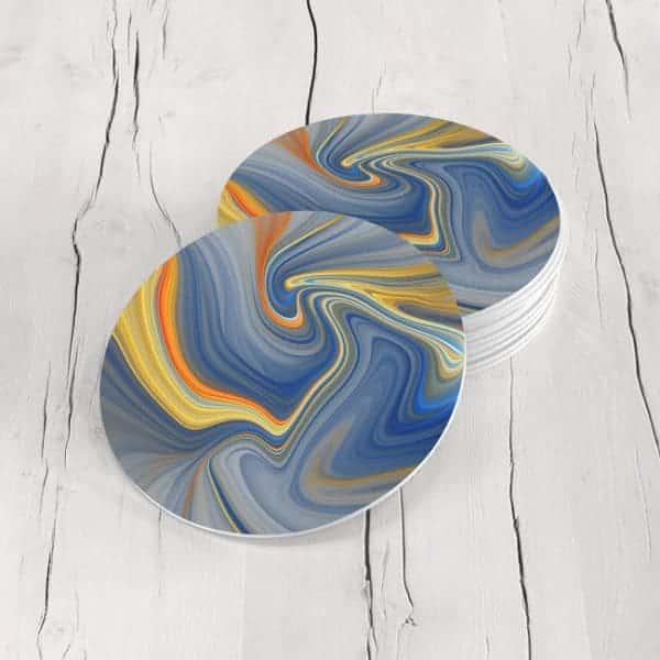 Porta Vasos Redondo Pintura Abstracta 54