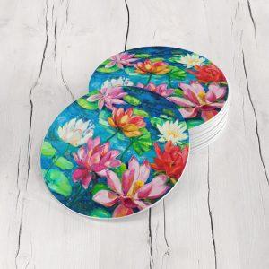 Porta Vasos Redondo Pintura Flores 59