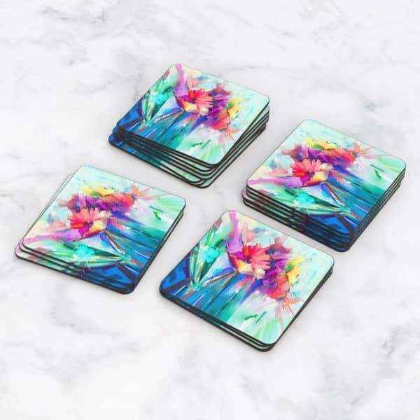 Porta Vasos Cuadrado Pintura Flores 78