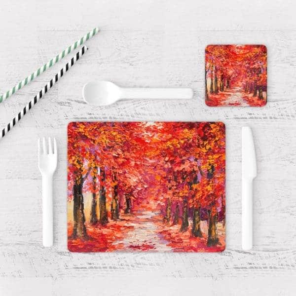 Individuales De Mesa Modernos para Comedor Bosque Otoño Rojo 01