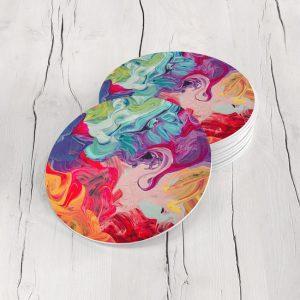 Porta Vasos Redondo Pintura Abstracta 43