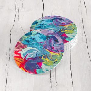 Porta Vasos Redondo Pintura Abstracta 40