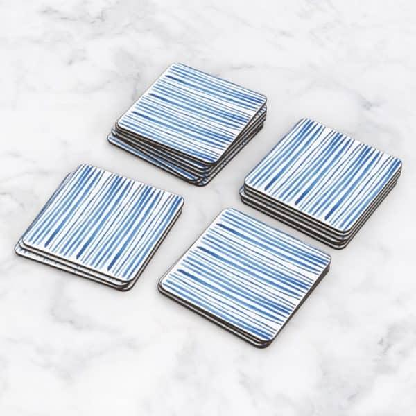 Porta Vasos Cuadrado Patrón Azul 03