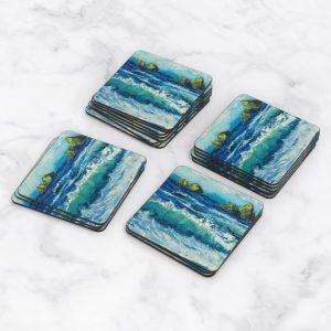 Porta Vasos Cuadrado Pintura Mar Y Olas 11