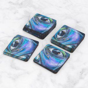 Porta Vasos Cuadrado Ojos Colores 02