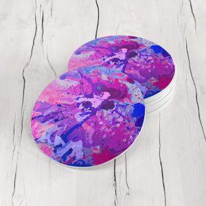 Porta Vasos Redondo Pintura Abstracta 55