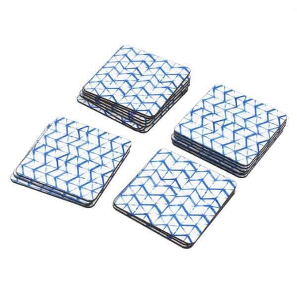 Porta Vasos Cuadrado Patrón Azul 10