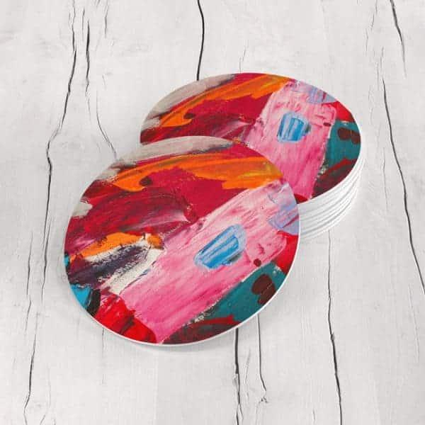 Porta Vasos Redondo Pintura Abstracta 46