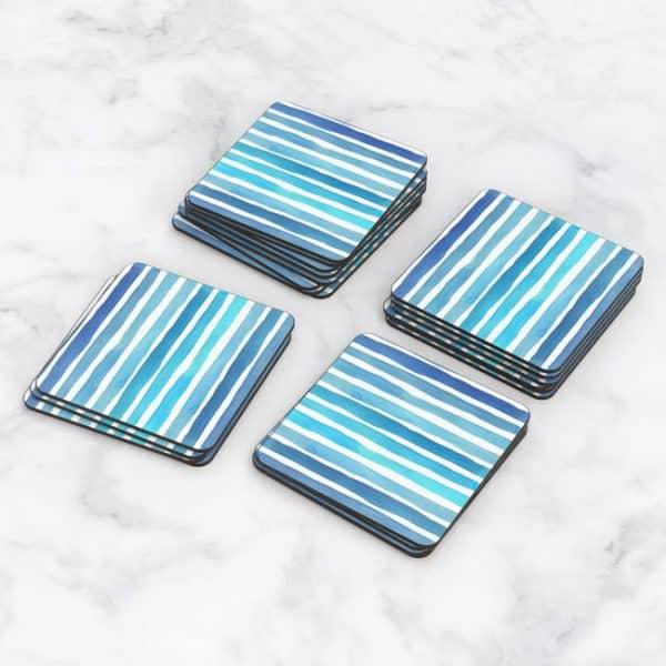 Porta Vasos Cuadrado Patrón Azul 13