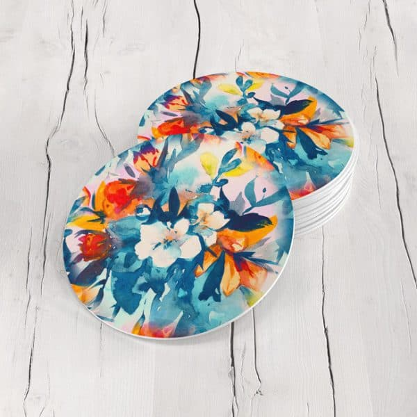 Porta Vasos Redondo Pintura Flores 58