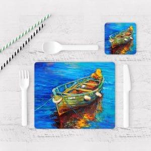 Individuales De Mesa Modernos para Comedor Pintura Barcas 06