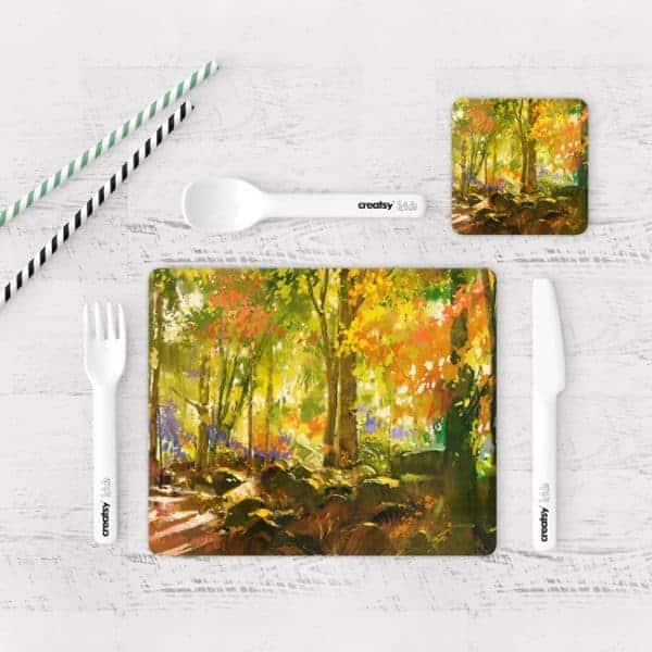 Individuales De Mesa Modernos para Comedor Pintura Bosque 01